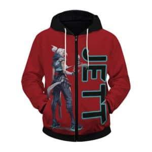 Valorant Femme Fatale Duelist Jett Cool Red Zip Up Hoodie
