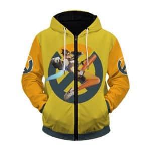 Dope Lena Oxton Tracer Overwatch Hero Zip Up Hoodie