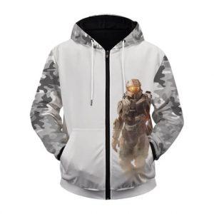 Amazing Halo Infinite Master Chief Gray Camo Zip Up Hoodie