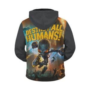 Classic Game Destroy All Humans Cool Gray Zip Up Hoodie