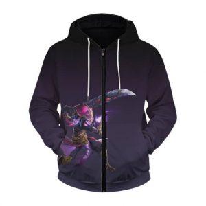 Mobile Legends Akuma Ninja Hanzo Purple Zip Up Hoodie