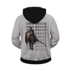Stunning Dark Souls III Logo Warrior Class Gray Zip Up Hoodie