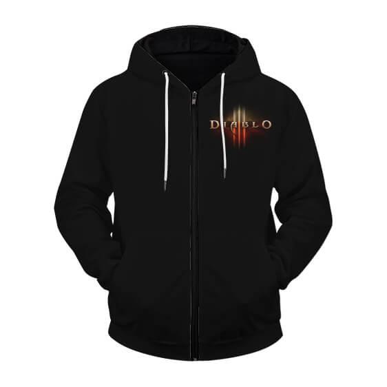Amazing Diablo III Cover Artwork Black Zip Up Hoodie Jacket