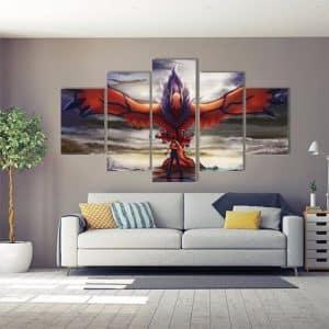 Pokemon Dark Flying Legendary Yveltal 5pcs Canvas Print