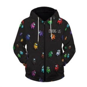 Among Us Cute Crewmates Ejected In Space Zip Up Hoodie