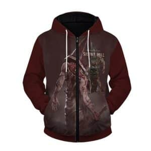 Silent Hill The Fearsome Pyramid Head Maroon Zip Up Hoodie