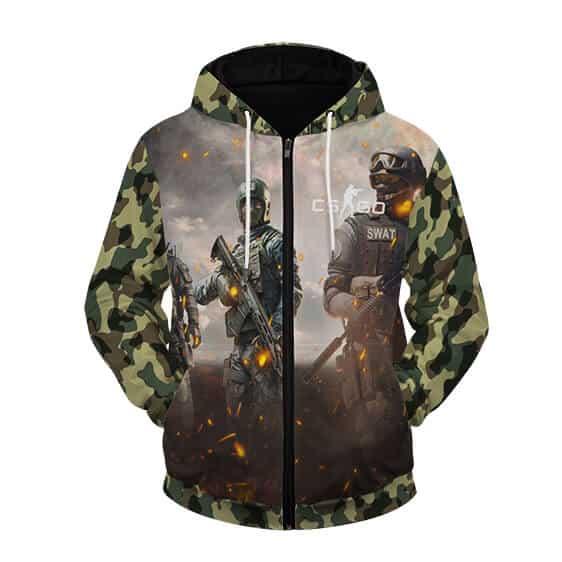Counter Strike Global Offensive Green Camo Zip Up Hoodie